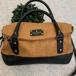 Like New Kate Spade Woven Bag Black Leather Trim